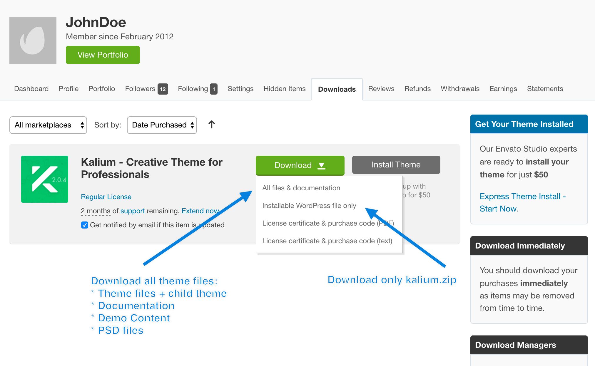Installing Kalium via WordPress – Documentation
