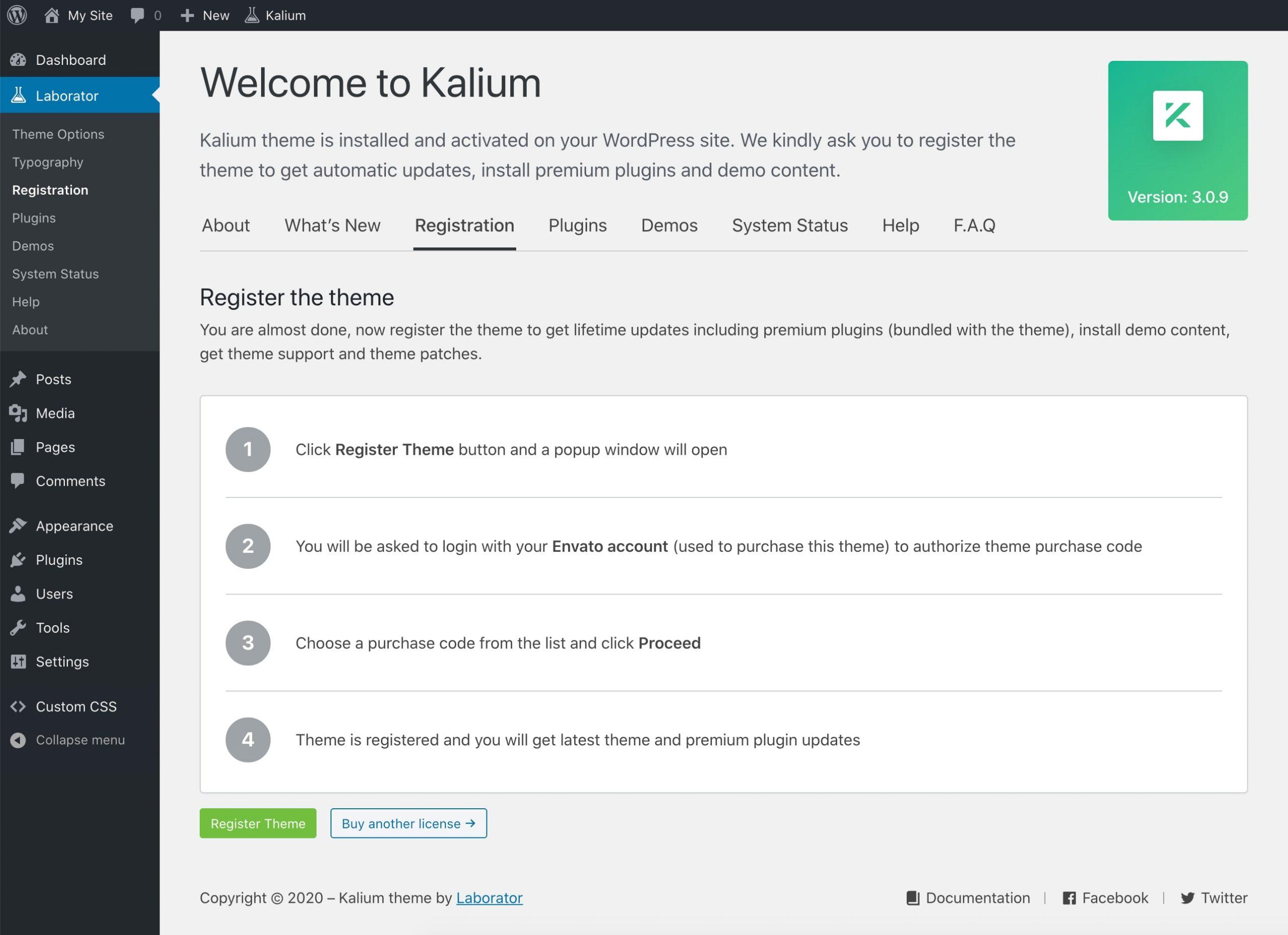 Kalium Theme Registration page